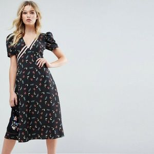 ASOS floral Ditsy print Midi Dress puff sleeve 12